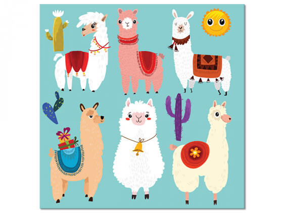 Tableau enfant Lamas Cartoon Alpaga