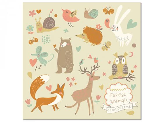 Tableau Enfant cute set Forest Animals