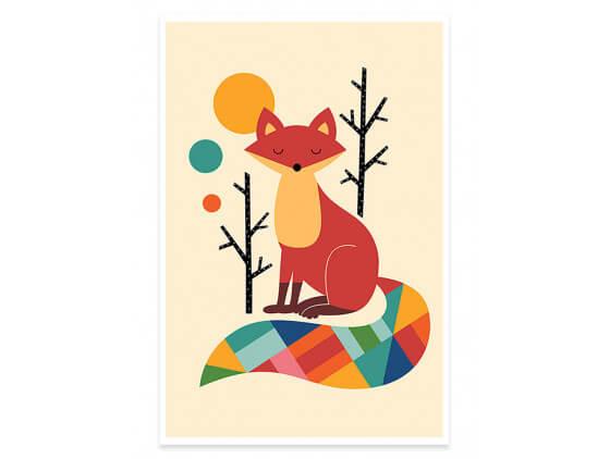 Affiche Enfant Rainbow Fox