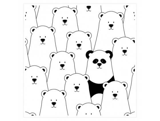 Affiche Enfant Ours blanc et Panda Noir