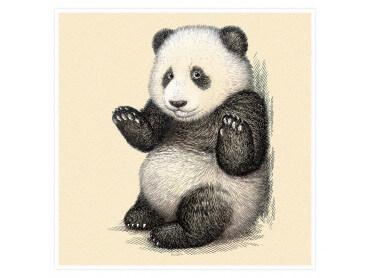 Affiche Enfant Illustration Vintage Panda