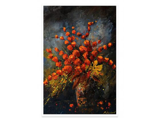 Affiche Deco Vase Fleurs orange