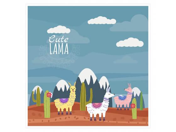 Affiche Illustration Lamas et Sommets enneigés