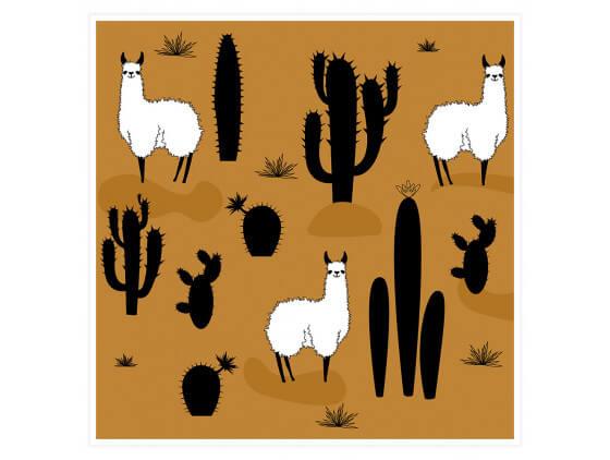 Affiche deco Illustration Lama et Cactus