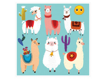 Affiche enfant Lamas Cartoon Alpaga