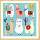Affiche enfant Lamas Cartoon Alpaga