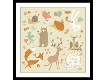 Affiche Enfant cute set Forest Animals