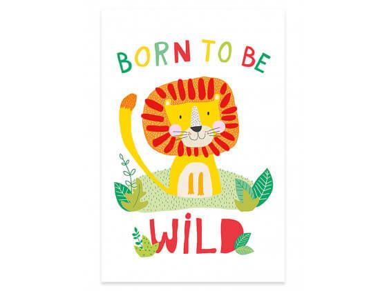Affiche Enfant Lion Born to be Wild