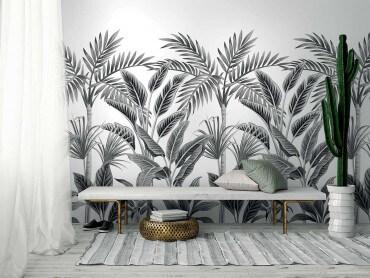 Papier peint rouleau Palmeraie en noir et blanc