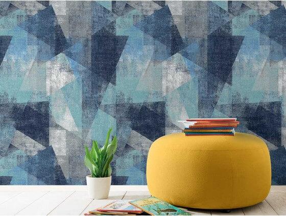 Papier peint rouleau Perspective géométrique bleue