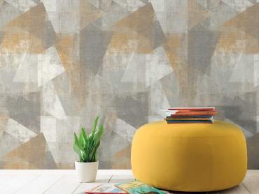Papier peint rouleau Perspective géométrique jaune