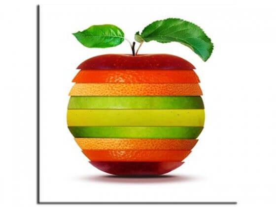 Tableau cuisine pomme orange citron