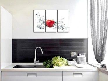 Tableau design pomme rouge et goutte d'eau