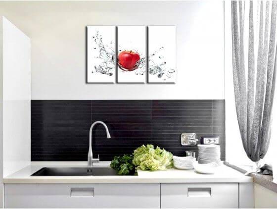 D co murale pour cuisine vente de tableau pomme rouge for Tableau cuisine rouge