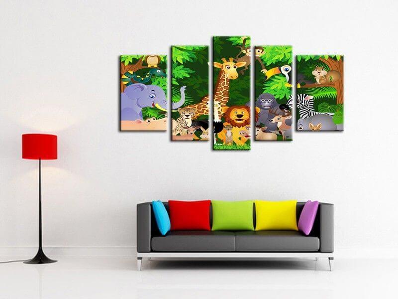 d coration de chambre enfant tableau animaux color s pas. Black Bedroom Furniture Sets. Home Design Ideas