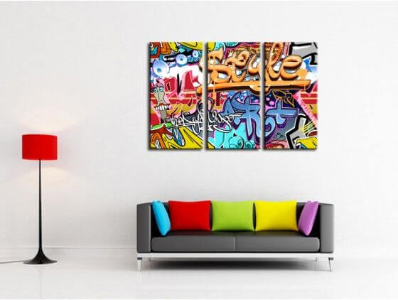 Tableau graffiti tag moderne pas cher tableaux deco design - Tableau decoration salon pas cher ...