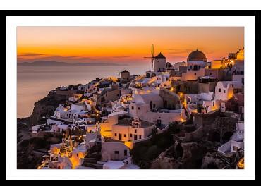 Poster Paysage Santorini By night