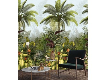 Papier peint Decor tropical fleuri