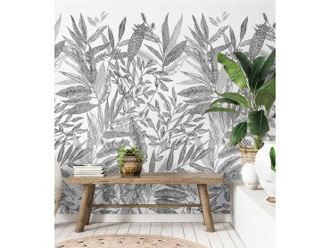 Papier peint decor Jungle en Noir et blanc