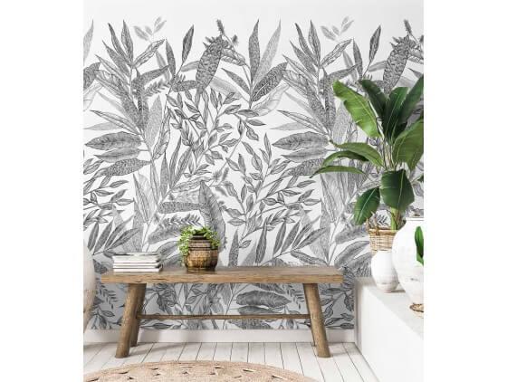 Papier peint decor Jungle en Noir et blanc