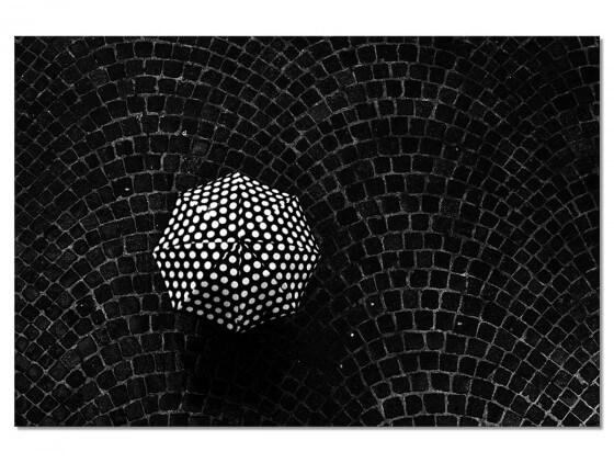 Tableau Noir et Blanc Parapluie à pois