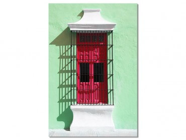 Tableau Photo Mexico Mur au volet rouge