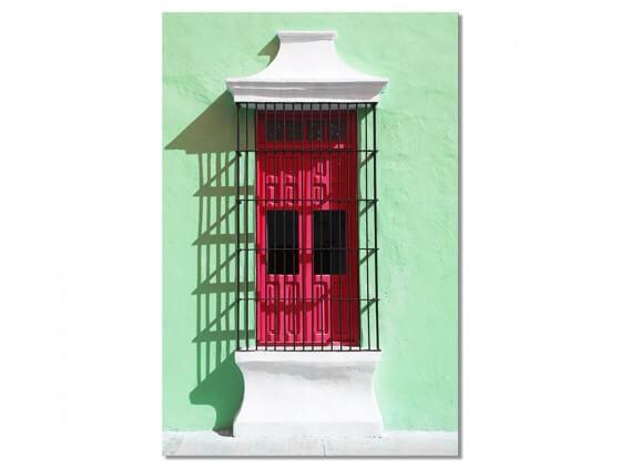 Tableau Photo Mexico Mur au volet rouge