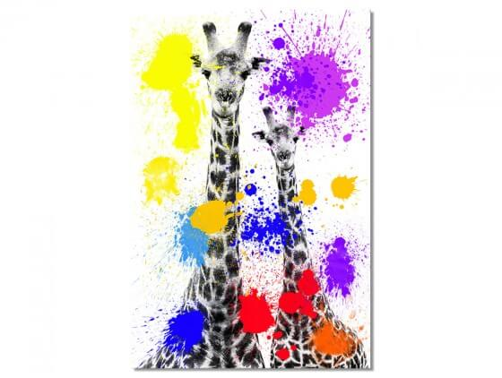 Tableau Animaux duo de girafe Pop Art