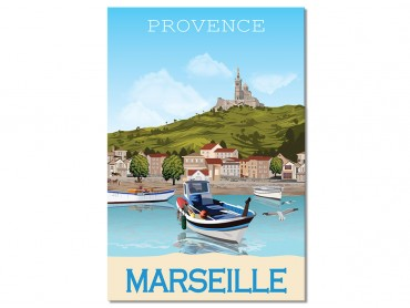 Tableau illustration Le Vieux Port Marseille