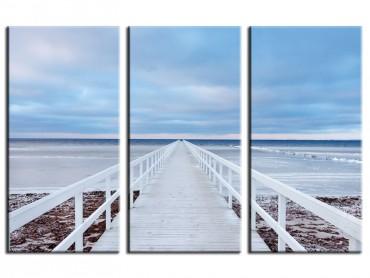 Tableau Paysage Ponton blanc sur la côte