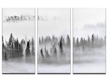 Tableau paysage brume sur les cîmes