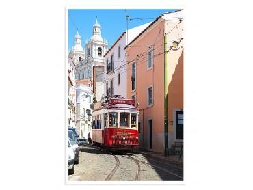 """Affiche Photo Lisbonne """"Tram Rouge"""""""