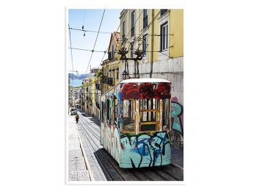 "Affiche paysage Lisbonne ""Tram Street Graffiti"""