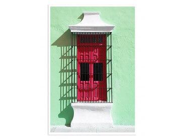 Affiche Photo Mexico Mur au volet rouge
