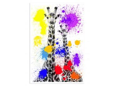 Affiche Animaux duo de girafe Pop Art