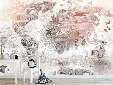 Papier Peint Carte du monde collage