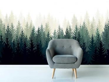 Papier Peint Panoramique Forêt de Sapin