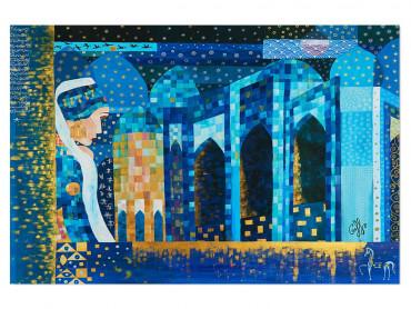 Illustration colorée La mosquée bleue