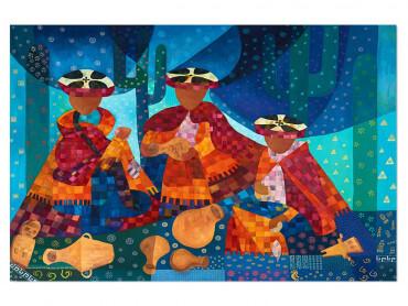 Illustration colorée Chapeaux et traditions au Pérou