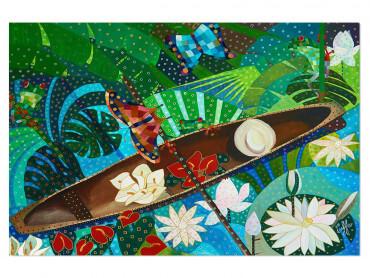 Tableau coloré Pirogues et nénuphars