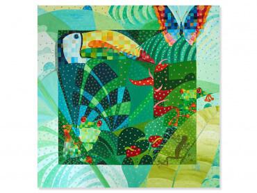 Illustration colorée Cameleon dans sa jungle