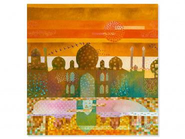 Tableau coloré Sunset sur le Taj Mahal