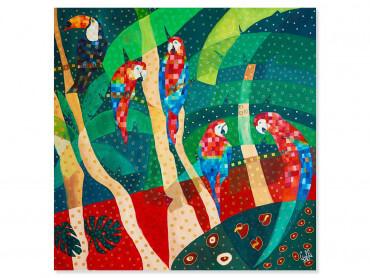 Illustration colorée Perroquet rouge