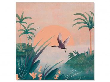 Tableau illustration Envol au coucher du soleil