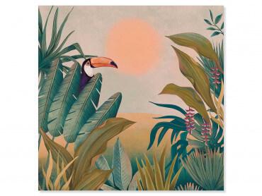 Tableau illustration Toucan au coucher du soleil