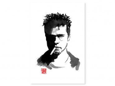 Tableau célébrité Brad Pitt au crayon