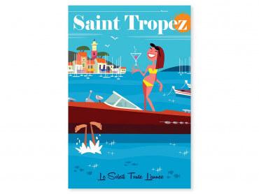 Tableau Illustration Vacances à St Tropez