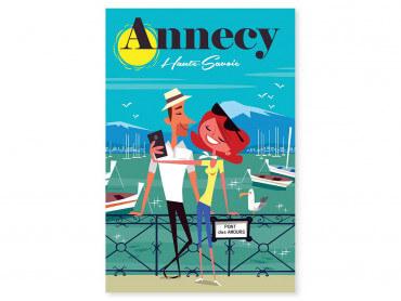 Tableau Illustration Le pont des amours Annecy