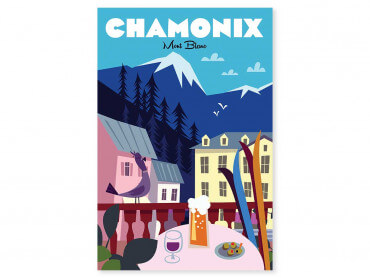 Tableau Illustration Chamonix Mont Blanc