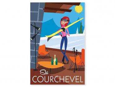 Tableau Illustration Ski à Courchevel